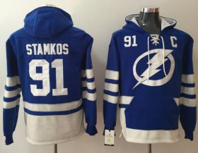 Wholesale Cheap Lightning #91 Steven Stamkos Blue Name & Number Pullover NHL Hoodie