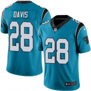 Wholesale Cheap Nike Panthers #28 Mike Davis Blue Men's Stitched NFL Limited Rush Jersey