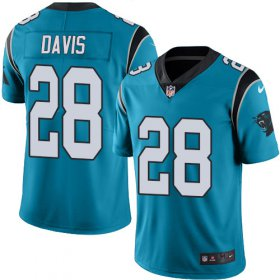 Wholesale Cheap Nike Panthers #28 Mike Davis Blue Men\'s Stitched NFL Limited Rush Jersey