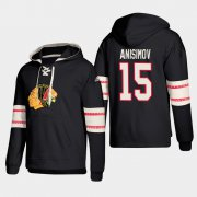 Wholesale Cheap Chicago Blackhawks #15 Artem Anisimov Black adidas Lace-Up Pullover Hoodie