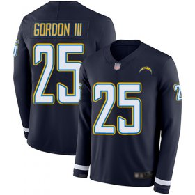 Wholesale Cheap Nike Chargers #25 Melvin Gordon III Navy Blue Team Color Men\'s Stitched NFL Limited Therma Long Sleeve Jersey