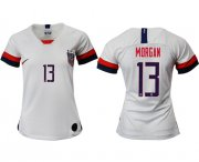 Wholesale Cheap Women's USA #13 Morgan Home Soccer Country Jersey