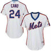Wholesale Cheap Mets #24 Robinson Cano White(Blue Strip) Alternate Women's Stitched MLB Jersey