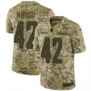 Wholesale Cheap Nike Chargers #42 Uchenna Nwosu Camo Youth Stitched NFL Limited 2018 Salute to Service Jersey