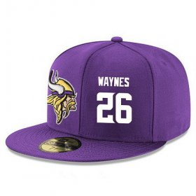 Wholesale Cheap Minnesota Vikings #26 Trae Waynes Snapback Cap NFL Player Purple with White Number Stitched Hat