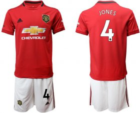 Wholesale Cheap Manchester United #4 Jones Red Home Soccer Club Jersey