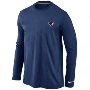Wholesale Cheap Nike Houston Texans Sideline Legend Authentic Logo Long Sleeve T-Shirt Dark Blue