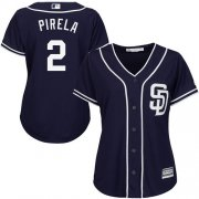 Wholesale Cheap Padres #2 Jose Pirela Navy Blue Alternate Women's Stitched MLB Jersey