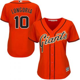 Wholesale Cheap Giants #10 Evan Longoria Orange Alternate Women\'s Stitched MLB Jersey