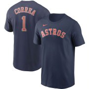 Wholesale Cheap Houston Astros #1 Carlos Correa Nike Name & Number Team T-Shirt Navy
