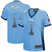 Wholesale Cheap Nike Titans #1 Warren Moon Light Blue Alternate Women's Stitched NFL Elite Drift Fashion Jersey