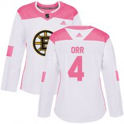 Wholesale Cheap Adidas Bruins #4 Bobby Orr White/Pink Authentic Fashion Women's Stitched NHL Jersey
