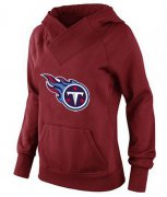 Wholesale Cheap Women's Tennessee Titans Logo Pullover Hoodie Red-1