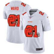 Wholesale Cheap Cleveland Browns #21 Denzel Ward White Men's Nike Team Logo Dual Overlap Limited NFL Jersey