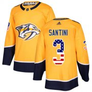 Wholesale Cheap Adidas Predators #3 Steven Santini Yellow Home Authentic USA Flag Stitched NHL Jersey