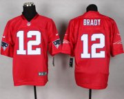 Wholesale Cheap Nike Patriots #12 Tom Brady Red Men's Stitched NFL Elite QB Practice Jersey
