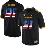 Wholesale Cheap Missouri Tigers 91 Charles Harris Black USA Flag Nike College Football Jersey