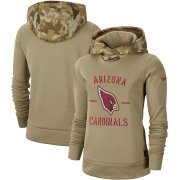 Wholesale Cheap Women's Arizona Cardinals Nike Khaki 2019 Salute to Service Therma Pullover Hoodie