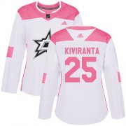 Cheap Adidas Stars #25 Joel Kiviranta White/Pink Authentic Fashion Women's Stitched NHL Jersey