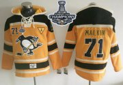 Wholesale Cheap Penguins #71 Evgeni Malkin Gold Sawyer Hooded Sweatshirt 2017 Stanley Cup Finals Champions Stitched NHL Jersey