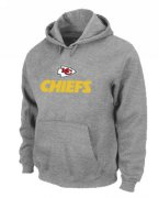 Wholesale Cheap Kansas City Chiefs Authentic Logo Pullover Hoodie Grey