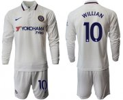 Wholesale Cheap Chelsea #10 Willian Away Long Sleeves Soccer Club Jersey