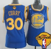 Wholesale Cheap Women's Golden State Warriors #30 Stephen Curry Blue 2016 The NBA Finals Patch Jersey