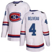 Wholesale Cheap Adidas Canadiens #4 Jean Beliveau White Authentic 2017 100 Classic Stitched NHL Jersey