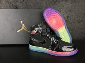 Wholesale Cheap Air Jordan 1 Retro High Gs Heiress Shoes Black/Rainbow