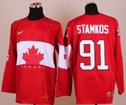 Wholesale Cheap Olympic 2014 CA. #91 Steven Stamkos Red Stitched NHL Jersey
