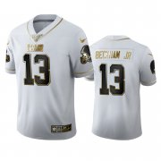 Wholesale Cheap Cleveland Browns #13 Odell Beckham Jr. Men's Nike White Golden Edition Vapor Limited NFL 100 Jersey