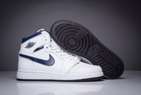 Wholesale Cheap Women Girl Air Jordan 1 High Shoes NAVY Blue/White Black