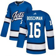 Wholesale Cheap Adidas Jets #16 Laurie Boschman Blue Alternate Authentic Stitched NHL Jersey