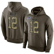 Wholesale Cheap NFL Men's Nike Buffalo Bills #12 Jim Kelly Stitched Green Olive Salute To Service KO Performance Hoodie