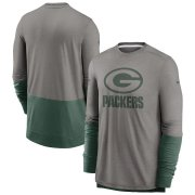 Wholesale Cheap Green Bay Packers Nike Sideline Player Performance Long Sleeve T-Shirt Heathered Gray Green