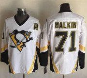 Wholesale Cheap Penguins #71 Evgeni Malkin White CCM Throwback Stitched NHL Jersey