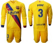 Wholesale Cheap Barcelona #3 Pique Away Long Sleeves Soccer Club Jersey