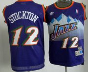 Wholesale Cheap Utah Jazz #12 John Stockton Mountain Purple Swingman Throwback Jersey