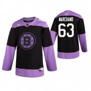 Wholesale Cheap Adidas Bruins #63 Brad Marchand Men's Black Hockey Fights Cancer Practice NHL Jersey