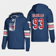 Wholesale Cheap New York Rangers #93 Mika Zibanejad Blue adidas Lace-Up Pullover Hoodie