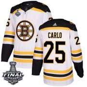 Wholesale Cheap Adidas Bruins #25 Brandon Carlo White Road Authentic 2019 Stanley Cup Final Stitched NHL Jersey