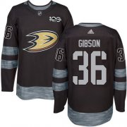 Wholesale Cheap Adidas Ducks #36 John Gibson Black 1917-2017 100th Anniversary Stitched NHL Jersey