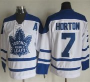 Wholesale Cheap Maple Leafs #7 Tim Horton White CCM Throwback Winter Classic Stitched NHL Jersey