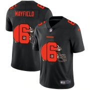 Wholesale Cheap Cleveland Browns #6 Baker Mayfield Men's Nike Team Logo Dual Overlap Limited NFL Jersey Black