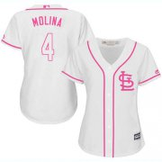 Wholesale Cheap Cardinals #4 Yadier Molina White/Pink Fashion Women's Stitched MLB Jersey