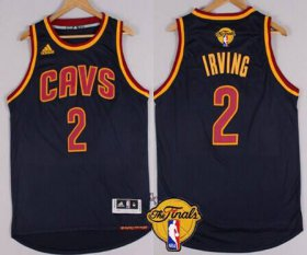 Wholesale Cheap Men\'s Cleveland Cavaliers #2 Kyrie Irving 2015 The Finals New Navy Blue Jersey
