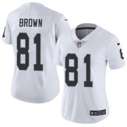 Wholesale Cheap Nike Raiders #81 Tim Brown White Women's Stitched NFL Vapor Untouchable Limited Jersey