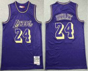 Wholesale Cheap Men's Los Angeles Lakers #24 Kobe Bryant 1996-97 Purple Hardwood Classics Soul Swingman Throwback Jersey