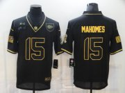 Wholesale Cheap Men's Kansas City Chiefs #15 Patrick Mahomes Black Gold 2020 Salute To Service Stitched NFL Nike Limited Jersey