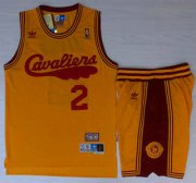 Wholesale Cheap Cleveland Cavaliers #2 Kyrie Irving 2009 Yellow Hardwood Classics Yellow Revolution 30 Swingman Jersey Short Suits